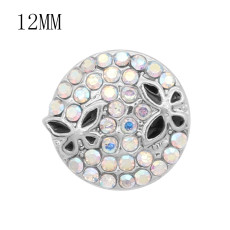 12MM design Butterfly metal snap with Colorful rhinestone KS7087-S charms snaps jewelry