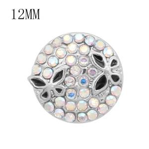 12MM дизайн бабочка металлическая оснастка с красочными стразами KS7087-S подвески оснастки ювелирные изделия