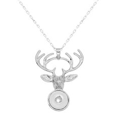 Christmas pendant Elk Necklace  60cm chain KC1314 fit 20MM chunks snaps jewelry