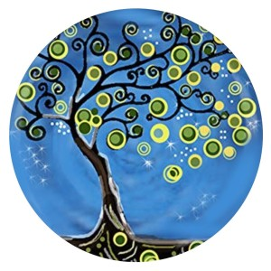 20MM Design Tree Emaille lackiertes Metall C5910 Print Charms blau