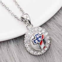 12MM Design Round Cross Metall Charms Snap mit weißem Strass KS7107-S Snaps Schmuck