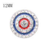 Diseño 12MM Los encantos metálicos redondos se ajustan con esmalte de diamantes de imitación blanco KS7112-S broches de joyería