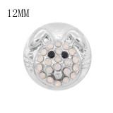 12MM Design Round Rabbit Metall Charms Snap mit weißem Strass KS7108-S Snaps Schmuck
