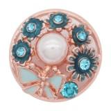 20MM chapado en oro rosa chapado con diamantes de imitación Esmalte azul KC8075 encantos encajes joyería