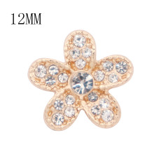 12MM flower Golden metal charms snap with White rhinestone KS7104-S snaps jewelry