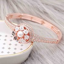 20MM  snap rose-gold plated with White rhinestone enamel With pearls KC8077 charms snaps jewelry