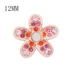 12MM flower Rose Gold metal charms snap with Red rhinestone KS7105-S snaps jewelry