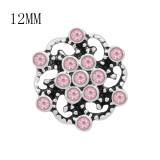 12MM diseño Flores encantos de metal a presión con diamantes de imitación rosa KS7116-S broches de joyería
