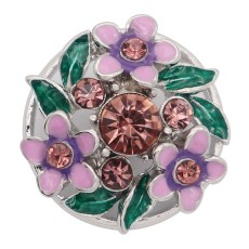 20MM Flowers rose-gold plated snap with purple  rhinestone and  enamel KC8078 charms  snaps jewelry
