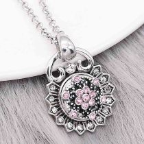 12MM design Flowers metal charms snap with Pink rhinestone KS7116-S snaps jewelry