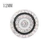 Diseño 12MM Los encantos metálicos redondos se ajustan con esmalte de diamantes de imitación blanco KS7113-S broches de joyería