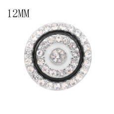 Дизайн 12MM Круглые металлические подвески с эмалью из белого горного хрусталя KS7113-S защелкиваются ювелирные изделия