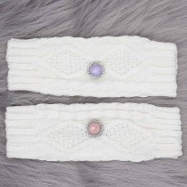 Knitted gloves fit 20mm snap button KB9796 White