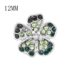 12MM design Flowers metal charms snap with Green rhinestone KS7098-S snaps jewelry