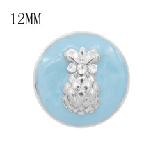 12MM Design Ananas Metall Charms Snap Blue Emaille KS7096-S Snaps Schmuck