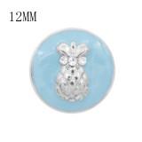 Diseño 12MM Encantos metálicos de piña a presión Esmalte azul KS7096-S broches de joyería