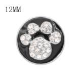 Diseño 12MM Encantos de metal con estampado de pata de gato a presión con diamantes de imitación blancos Esmalte negro KS7095-S broches de joyería