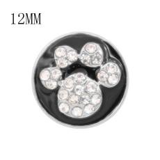 Дизайн 12MM Металлические подвески в форме кошачьей лапы с белыми стразами Черная эмаль KS7095-S защелкиваются ювелирные изделия