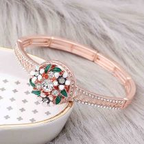 20MM Flowers rose-gold plated snap with white rhinestone and  enamel KC8081 charms  snaps jewelry