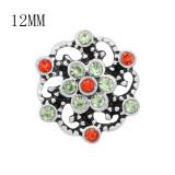 Encantos navideños Diseño 12MM Flores metal broche con diamantes de imitación rojo y verde KS7118-S broches de joyería