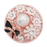 20MM chapado en oro rosa chapado con esmalte de diamantes de imitación blanco con perlas KC8077 encantos encajes joyería