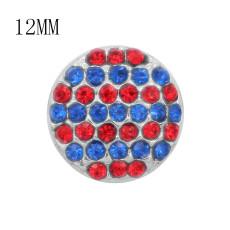 Дизайн 12MM Круглые металлические подвески с синим и красным стразами KS7089-S защелкиваются ювелирные изделия