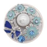 20MM snap plateado con azul claro con encantos KC8073 broches de joyería