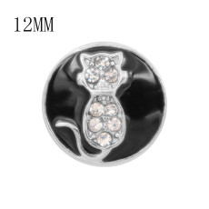12MM design Cat metal charms snap with White rhinestone Black enamel KS7111-S snaps jewelry