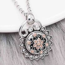 12MM design Flowers metal snap with Orange rhinestone KS7117-S snaps jewelry