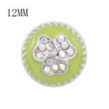 Diseño 12MM Encantos metálicos de flores a presión Con diamantes de imitación coloridos Esmalte verde KS7110-S broches de joyería