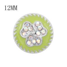 Дизайн 12MM Цветы металлические подвески оснастки С разноцветными стразами Зеленая эмаль KS7110-S оснастки ювелирные изделия