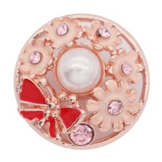 20MM  snap rose-gold plated with pink rhinestone enamel With  pearls KC8076 charms snaps jewelry