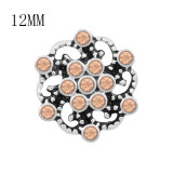 Diseño 12MM Flores de metal a presión con diamantes de imitación naranja KS7117-S broches de joyería