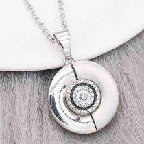 12MM design Round metal charms snap with White rhinestone enamel KS7113-S snaps jewelry