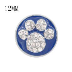 12MMデザイン猫の足跡メタルチャームスナップ付きホワイトラインストーンブルーエナメルKS7094-Sスナップジュエリー
