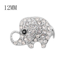 12MM design Elephant metal charms snap with White rhinestone KS7102-S snaps jewelry