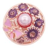 Broche de flores 20MM chapado en oro rosa con esmalte de diamantes de imitación rosa Con perlas KC8074 encantos encajes joyería