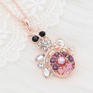 20MM flower snap rose-gold plated with Pink rhinestone enamel With pearls KC8074 charms  snaps jewelry