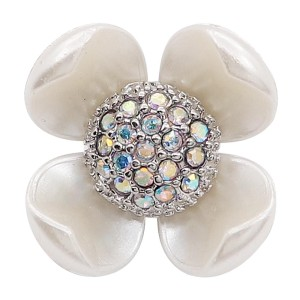 20MM flower snap with White rhinestone pearls KC8082 charms snaps jewelry