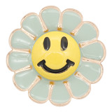 20MM Gold snap Smile Yellow enamel KC8087 charms snaps jewelry