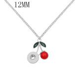 pendentif collier avec strass vert et perles rouges chaîne 42cm KS1293-S fit 12MM s'enclenche bijoux