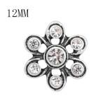 Broche de metal de diseño 12MM con diamantes de imitación blancos KS7125-S encantos encajes joyería