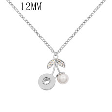 pendant Necklace with Colorful rhinestones And White pearls 42cm chain KS1294-S fit 12MM snaps jewelry