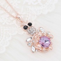 20MM  snap rose-gold plated with purple rhinestone charms KC8090 snaps jewelry