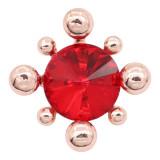 20MM snap rose-or plaqué avec des charmes de strass rouge KC8091 snaps bijoux