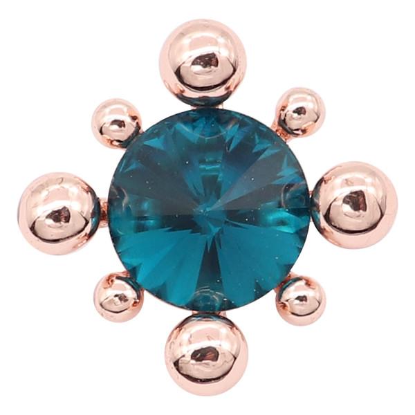 20MM snap plaqué or rose avec charms strass cyan KC8092 snaps bijoux