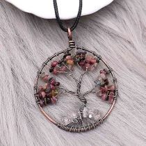 Natural stone-agate Tree of life copper Pendant of necklace fashion style jewelry
