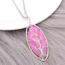 Ágata de piedra natural Árbol de la vida 10pcs / lot Colgante de collar de joyería de estilo de moda