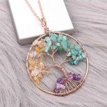 Ágata de piedra natural Árbol de la vida Colgante de oro del collar de joyería de estilo de moda