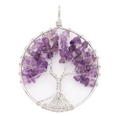 Naturstein-Achat Lebensbaum Anhänger aus Halskette Modeschmuck